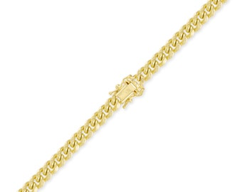 "10K Yellow Gold Hollow Miami Cuban Bracelet 7.0mm 8-9"" Curb Chain Link"