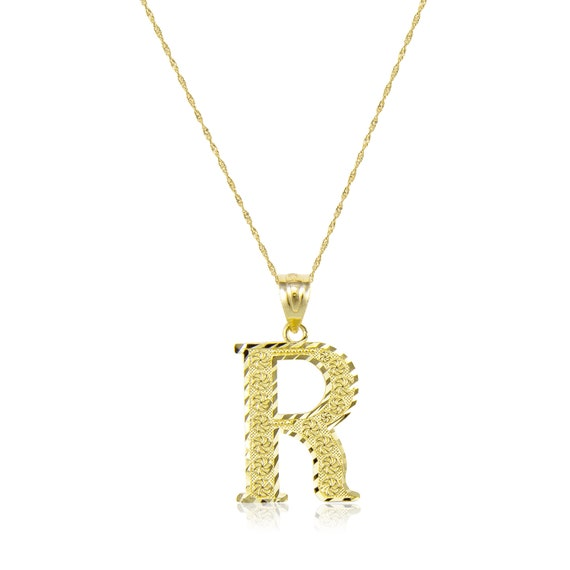 Solid 10k Yellow Gold Initial S Pendant Charm