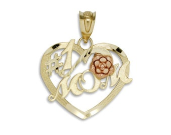 14K Solid Yellow Rose Gold Rose Heart #1 Mom Pendant - Number One Mother Love Necklace Charm