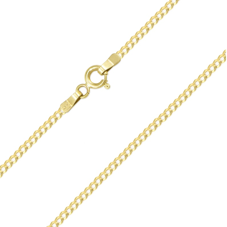 Round Curb Link 14K Solid Yellow Gold Cuban Necklace Chain 2.0mm 16-24