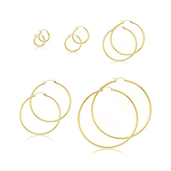 """14K Solide Or Blanc 2 mm Plain Hoop Boucles d/'oreilles petit 20 mm 0.7/"""" fermeture pression"""