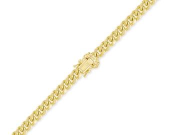 "14K Yellow Gold Hollow Miami Cuban Bracelet 7.5mm 8-9"" - Curb Chain Link"