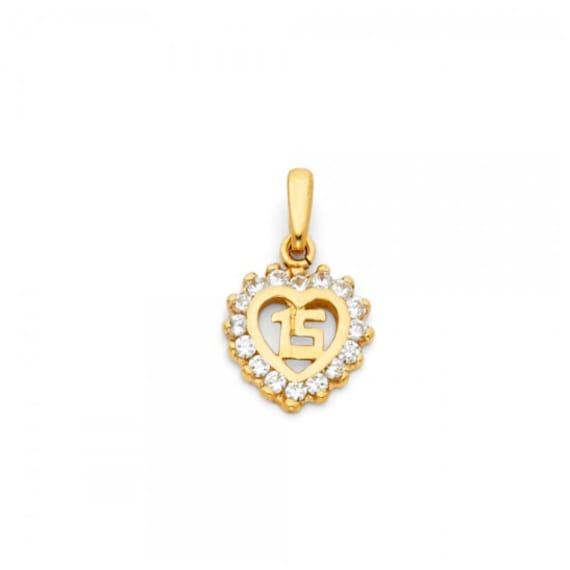 Solid 14k Yellow Gold Heart Sweet 15 Pendant Quinceanera Love Charm Diamond Cut