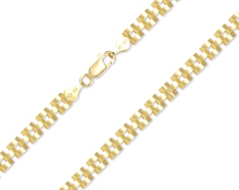 """10K Solid Yellow Gold Rolex Bracelet 5.0mm 7-8"""" - Chain Link"""
