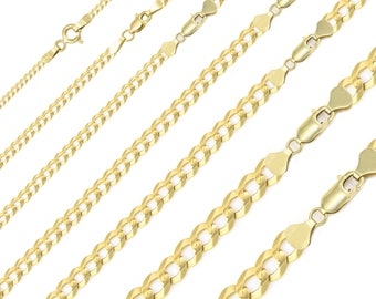"""10K Solid Yellow Gold Cuban Necklace Chain 2.0-12.5mm 16-30"""" - Round Curb Link"""