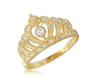 10K Solid Yellow Gold Cubic Zirconia Crown Ring - Royal Band