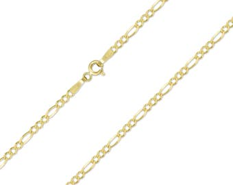 """14K Solid Yellow Gold Figaro Necklace Chain 2.0mm 16-24"""" - Polished Link"""