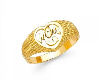 14K Solid Yellow Gold Heart Mom Ring - #1 Number One Love Mother Band