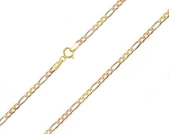 """10K Solid Yellow White Rose Gold Figaro Necklace Chain 2.3mm 16-24"""" - Link"""
