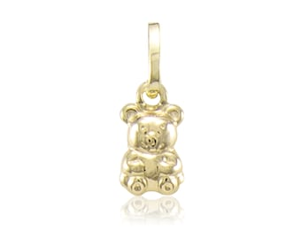 14K Yellow Gold Teddy Bear Pendant - Polished Necklace Charm