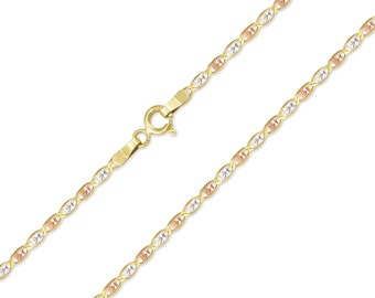 """14K Solid Yellow White Rose Gold Valentino Necklace Chain 1.5mm 16-24"""" - Tri Color Link"""