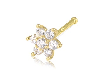 14K Solid Yellow Gold Cubic Zirconia Flower Nose Stud Ring 20g - Body Piercing Jewelry