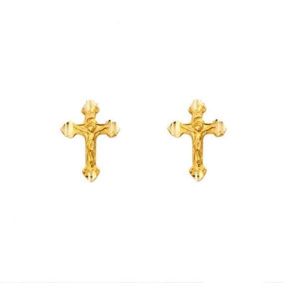 14K Solid Yellow Gold Jesus Stud Earrings Christ Crucifix Cross Women Men