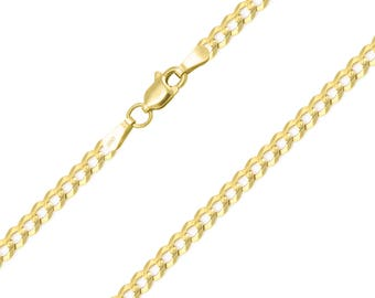 """14K Solid Yellow Gold Cuban Necklace Chain 3.0mm 16-30"""" - Round Curb Link"""