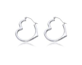 14K White Gold Heart Hoop Earrings - Love