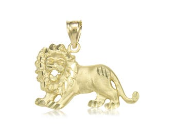 10K Solid Yellow Gold Lion Pendant - Diamond Cut Necklace Charm
