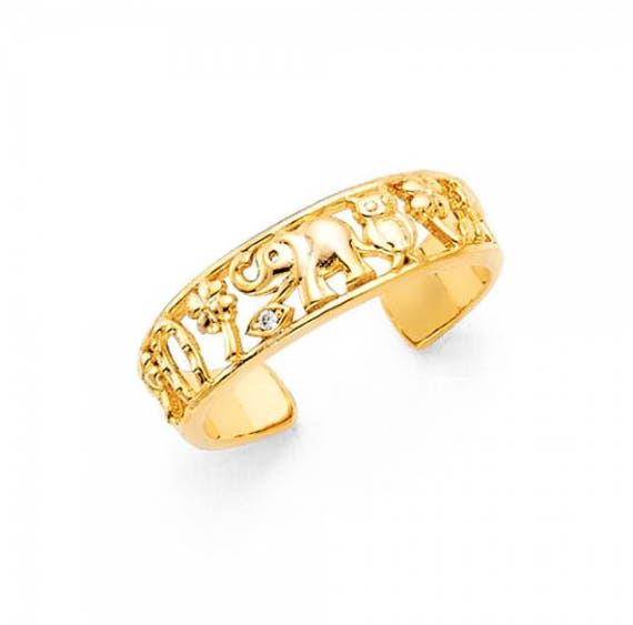 14 k yellow gold toe pinky ring with CZ/'s