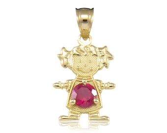 10K Solid Yellow Gold Cubic Zirconia Birthstone Girl Pendant - Any Color Necklace Charm