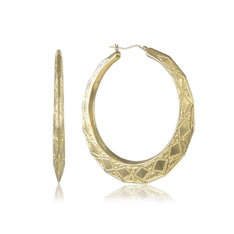 61033439b4479 10K Yellow Gold Octagon Door Knocker Hoop Earrings - Round Etched