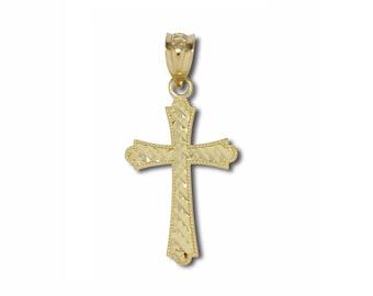 10K Solid Yellow Gold Diamond Cut Fleur-De-Lis Cross Pendant - Necklace Charm