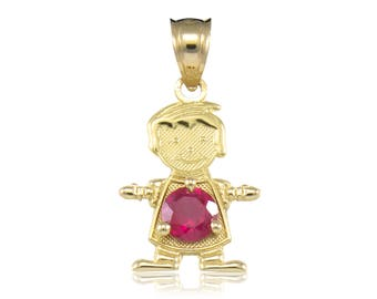 10K Solid Yellow Gold Cubic Zirconia Birthstone Boy Pendant - Any Color Necklace Charm