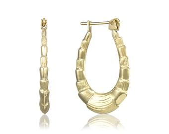 14K Yellow Gold Scalloped Hoop Earrings - Oval Shrimp Puffy Hollow Door Knocker