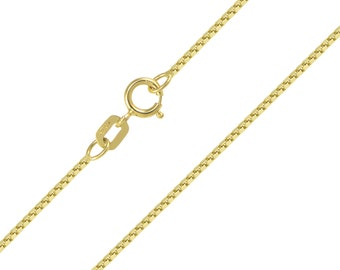 """10K Solid Yellow Gold Box Necklace Chain 0.8mm 16-24"""" - Polished Link"""