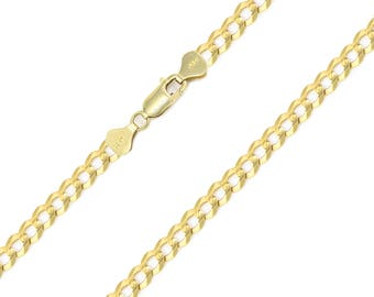 """10K Solid Yellow Gold Cuban Necklace Chain 4.0mm 18-30"""" - Round Curb Link"""