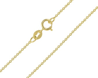 """10K Solid Yellow Gold Rolo Necklace Chain 0.9mm 16-24"""" - Round Cable Link"""
