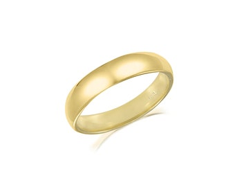 14K Solid Yellow Gold Regular Fit Plain Wedding Band Ring 3.0mm Size 5-13 - Polished