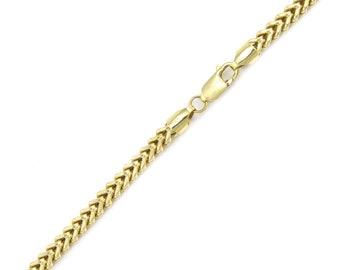 "10K Yellow Gold Hollow Franco Bracelet 5.0mm 8-9"" - Box Chain Link"