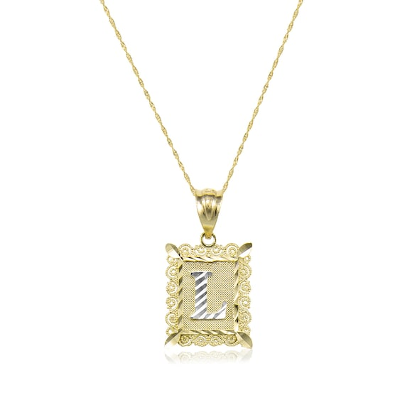 Solid 10k White Gold Initial Letter O Pendant Necklace