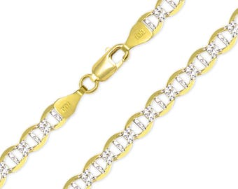 """14K Solid Yellow Gold White Pave Mariner Necklace Chain 7.7mm 22-26"""" - Diamond Cut Anchor Link"""