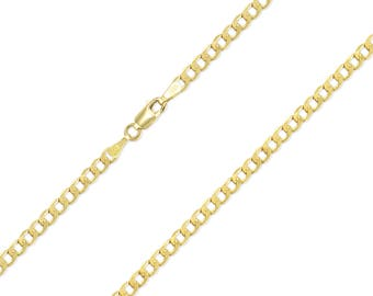 """14K Yellow Gold Hollow Cuban Necklace Chain 2.5mm 16-26"""" - Round Curb Link"""