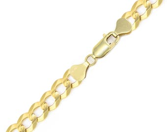 """10K Solid Yellow Gold Cuban Bracelet 12.5mm 8-9"""" - Curb Chain Link"""