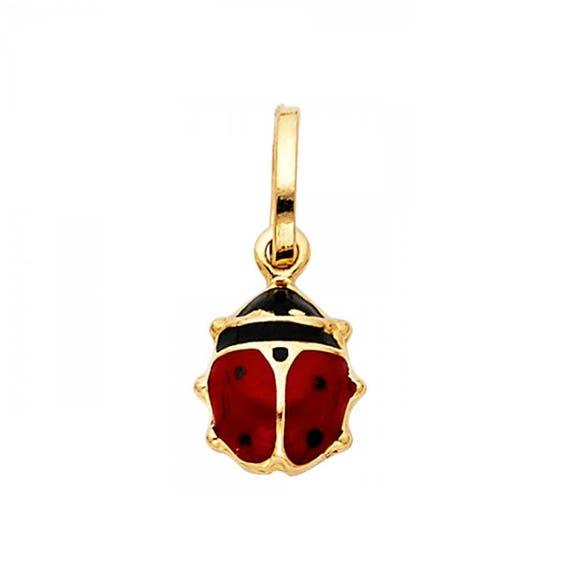 Enamel Lady Bug PendantCharm *VINTAGE* 14k Yellow Gold