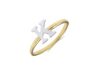 14K Solid Yellow White Gold Initial Letter Ring - A-Z Any Alphabet Finger Band