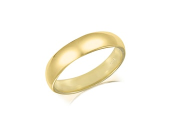 14K Solid Yellow Gold Regular Fit Plain Wedding Band Ring 4.0mm Size 5-13 - Polished