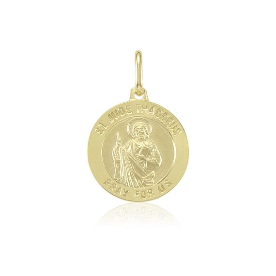 Jude Thaddeus Religious Medal Pendant Necklace 14k Yellow Gold Saint St
