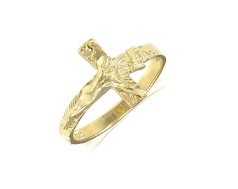 14K Solid Yellow Gold Sideways Crucifix Cross Ring - INRI Jesus Religious Band