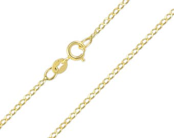 """10K Solid Yellow Gold Flat O-Link Necklace Chain 1.5mm 16-24"""" - Round Cable Link"""