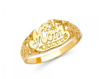 14K Solid Yellow Gold #1 Mom Ring - Number One Mother Band