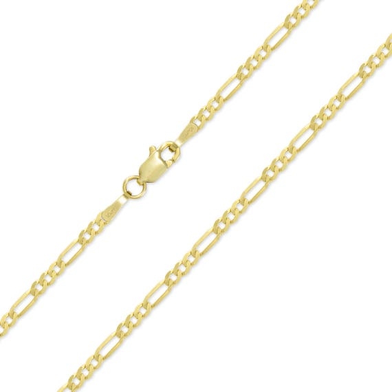 """Authentic 10K Solid Yellow Gold Figaro Chain Necklace 2.5mm//16/""""~26/"""""""
