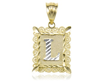 10K Solid Yellow White Gold Initial Letter Plate Pendant - A-Z Any Alphabet Necklace Charm