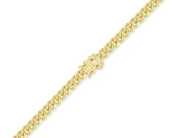 "14K Yellow Gold Hollow Miami Cuban Bracelet 7.0mm 8-9"" Curb Chain Link"