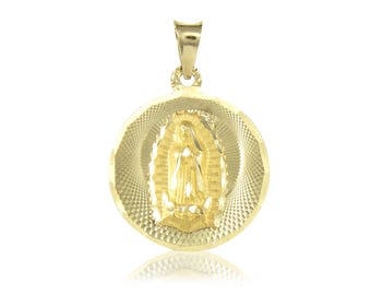 14K Solid Yellow Gold Virgin Mary Round Medal Pendant - Lady of Guadalupe Necklace Charm