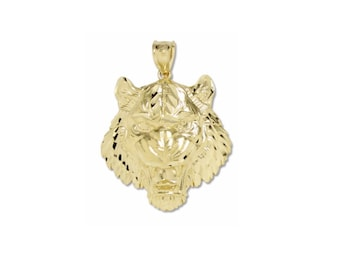 10K Solid Yellow Gold Tiger Head Pendant - Face Diamond Cut Necklace Charm