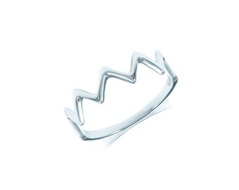 14K Solid White Gold Zigzag Ring - Wave Crown Thunder Stackable Finger Knuckle Midi Thumb Band