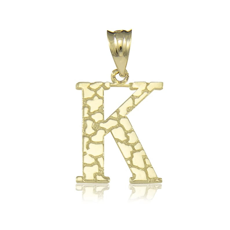 A-Z Any Alphabet Necklace Charm 10K Solid Yellow Gold Nugget Initial Letter Pendant