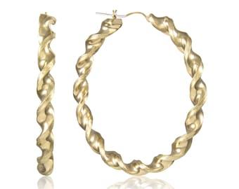 10K Yellow Gold Round Twisted Hoop Earrings 6.0mm 45-75mm - Swirl Twist